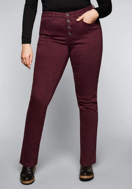 Skinny Power-Stretch-Hose mit Teilungsnähten - bordeaux - 44