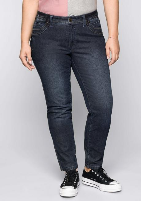 Schmale Stretch-Jeans KIRA mit Kontrastnähten - dark blue Denim - 44