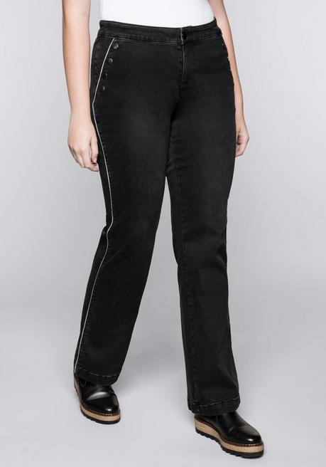 Weite Power-Stretch-Jeans mit Zierknöpfen - black Denim - 44