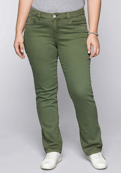 Gerade Stretch-Jeans LANA in Coloured Denim - khaki - 44