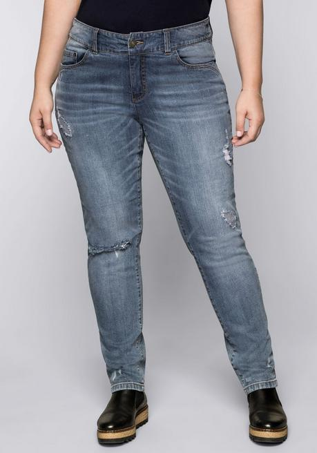 Schmale Stretch-Jeans mit Destroyed-Effekten - blue used Denim - 44