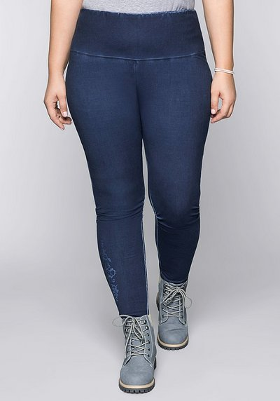 Leggings in Oil-washed-Optik mit Blumendruck - marine - 44