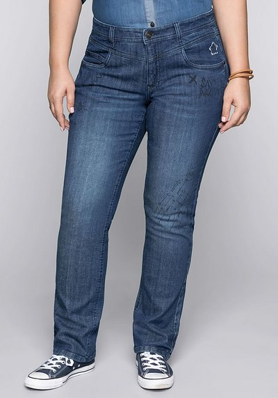 Gerade Stretch-Jeans LANA mit Comic-Druck - blue Denim - 44