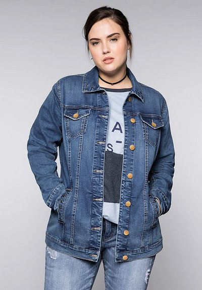 Long-Jeansjacke im Usedlook mit Ziernieten - blue used Denim - 44