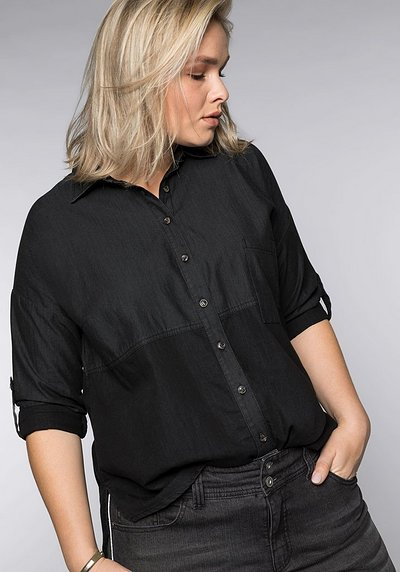 Jeansbluse im Colorblocking - black Denim - 44