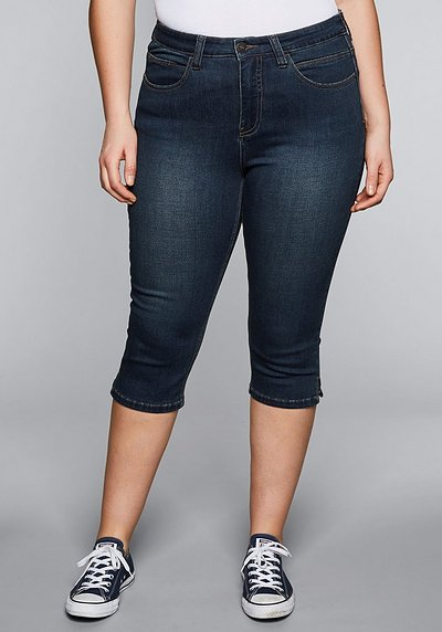 Skinny Power-Stretch-Jeans in Caprilänge - dark blue Denim - 44
