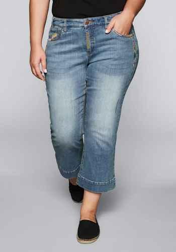 79dc4057275fd2 Bootcut-Stretch-Jeans in 7/8-Länge - light blue Denim