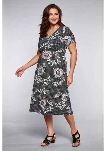 50bc5c0fb77fb2 Jerseykleid mit Alloverdruck und V-Ausschnitt - schwarz bedruckt