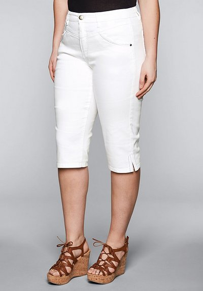 Schmale Capri-Stretch-Jeans mit Stickerei - white Denim - 44