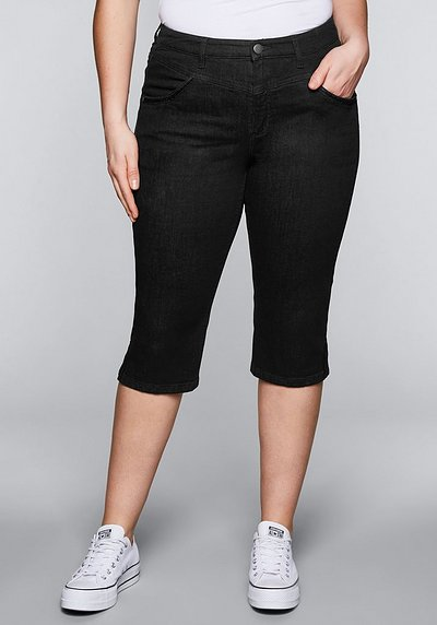 Schmale Capri-Stretch-Jeans mit Stickerei - black Denim - 44