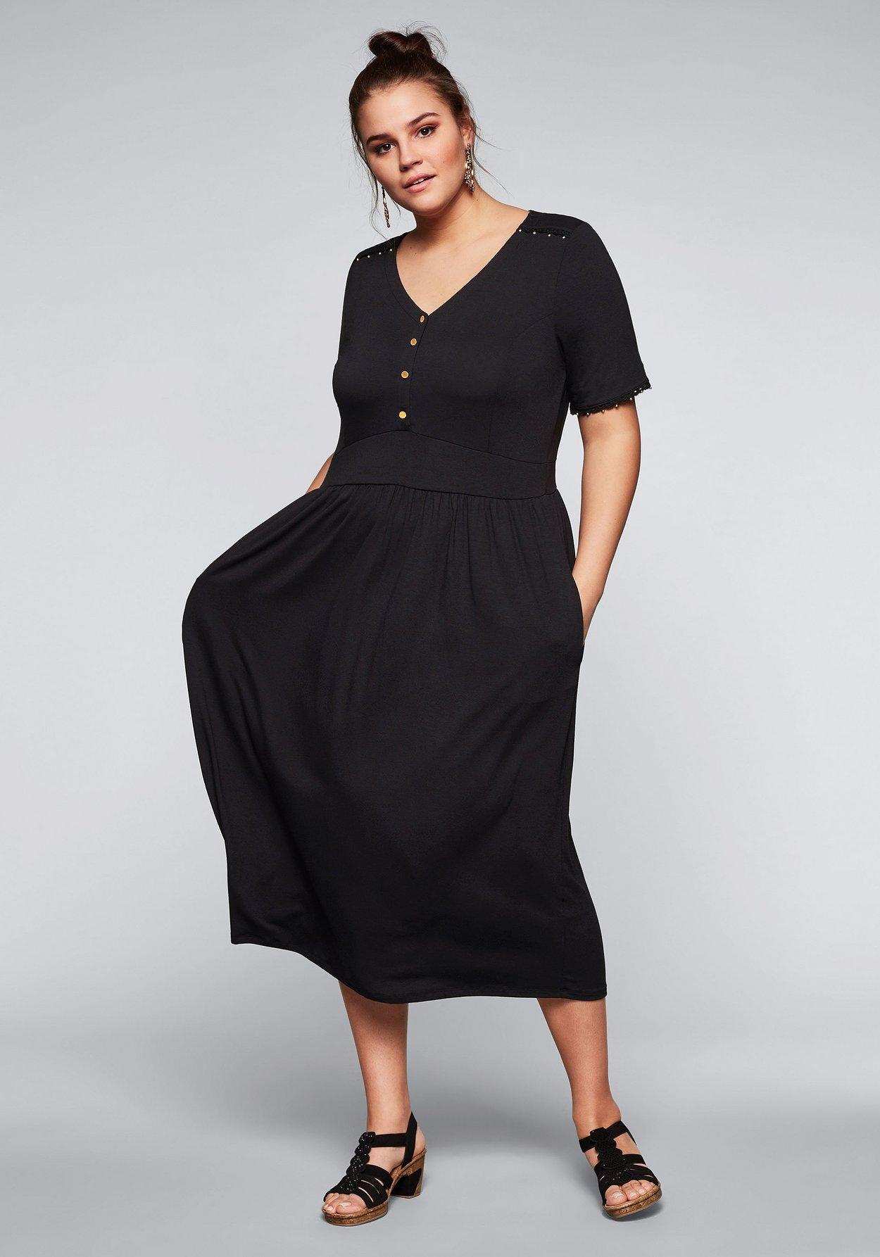 Jerseykleid mit v ausschnitt