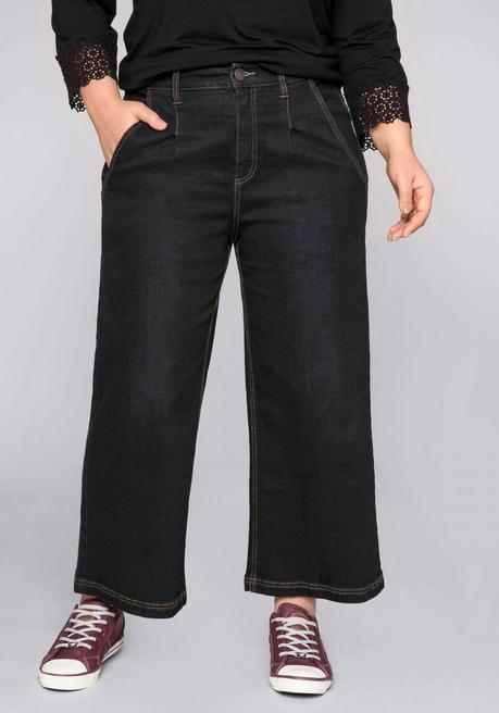 Weite Jeans-Culotte in 7/8-Länge - black Denim - 44