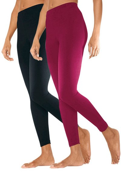 Vivance 2er tight leggings - himbeere+schwarz - 40/42