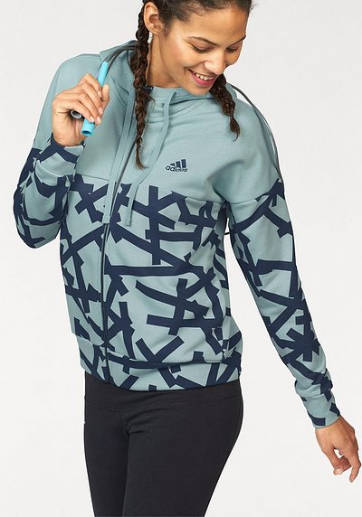 adidas Performance Kapuzensweatjacke »ESSENTIALS ALL OVER PRINT FULL ZIP HOODIE« - grün - L