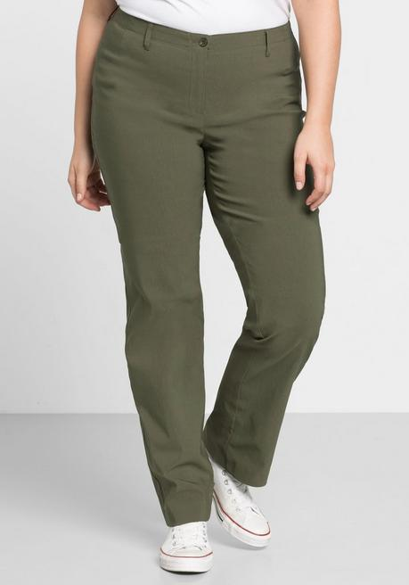 BASIC Gerade Bengalin-Stretch-Hose - dunkelkhaki - 44