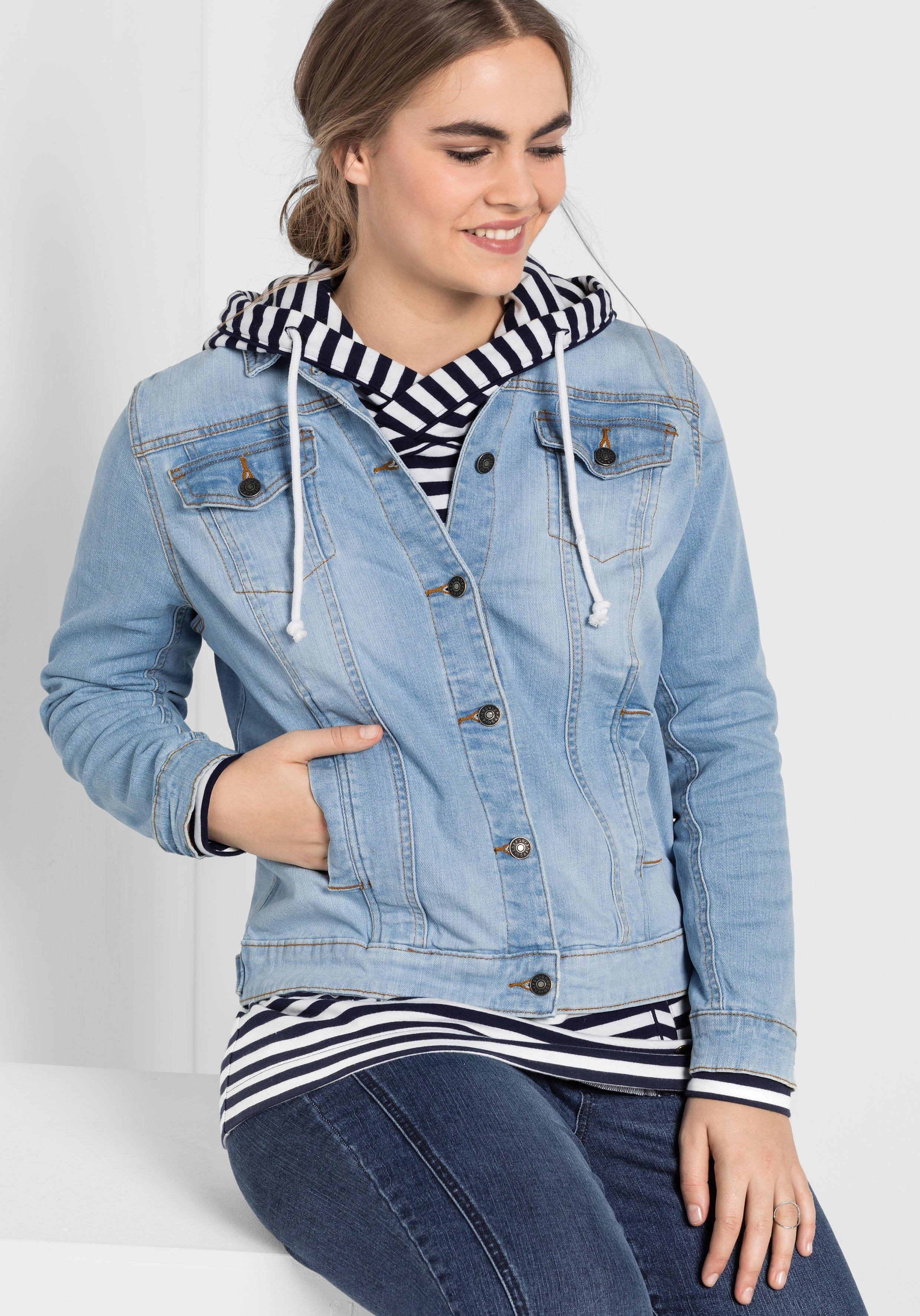 Große Größen: Jeansjacke mit zwei Brusttaschen, blue bleached Denim, Gr.40-58