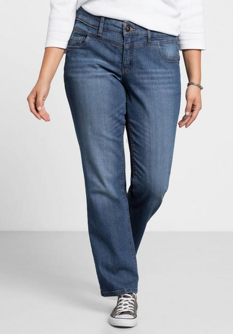 Gerade Stretch-Jeans LANA mit Used-Effekten - blue Denim - 40