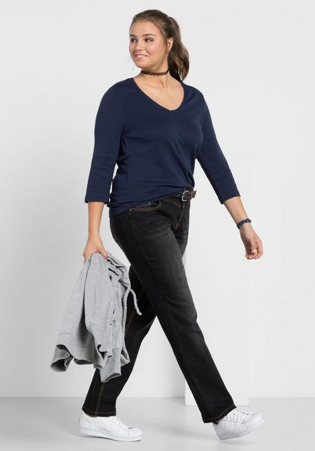 Gerade Stretch-Jeans LANA mit Used-Effekten - black Denim - 40