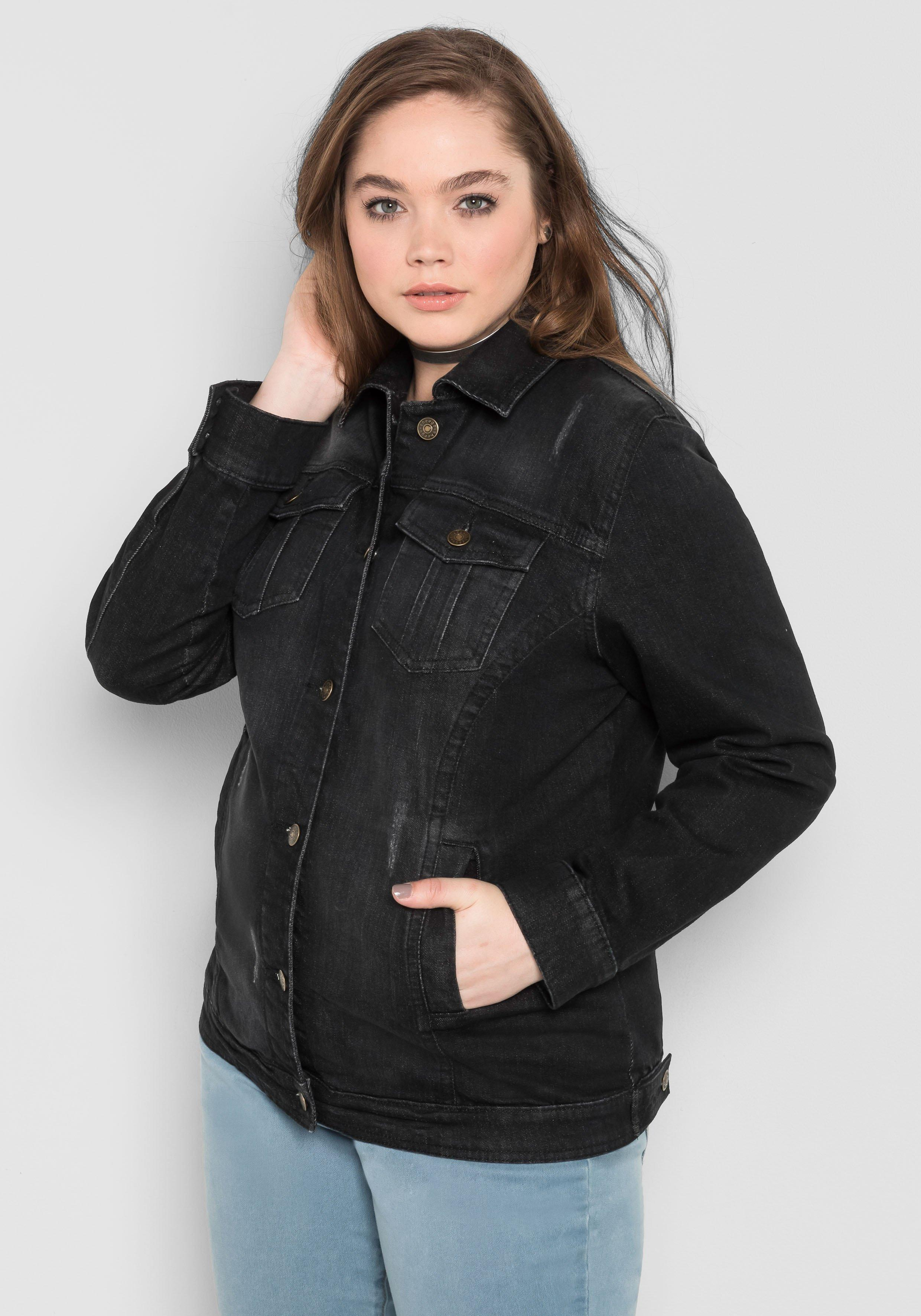 Große Größen: Jeansjacke im klassischen Stil, black Denim, Gr.40-58