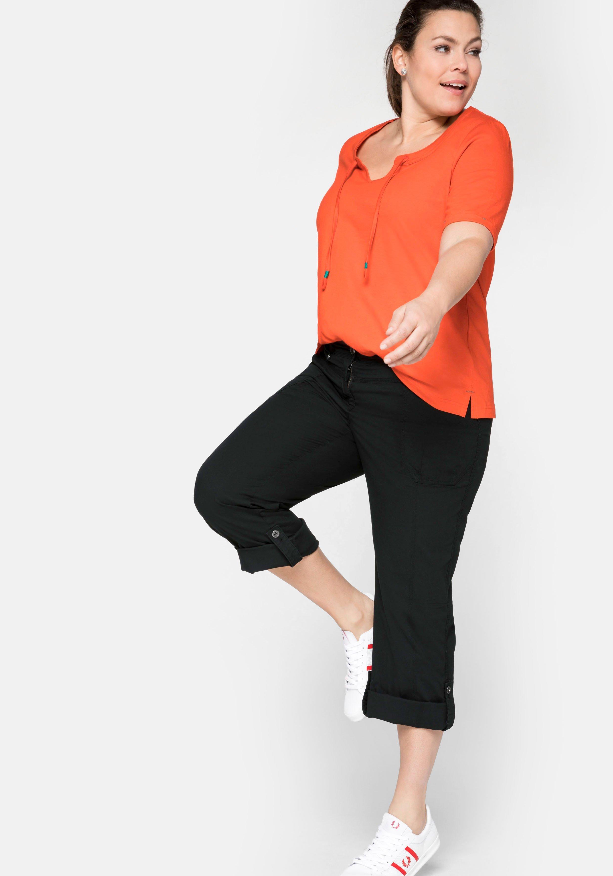 sheego Stretch-Hose schlichte Damen Freizeit-Hose Kurzgröße Große Größen Marine