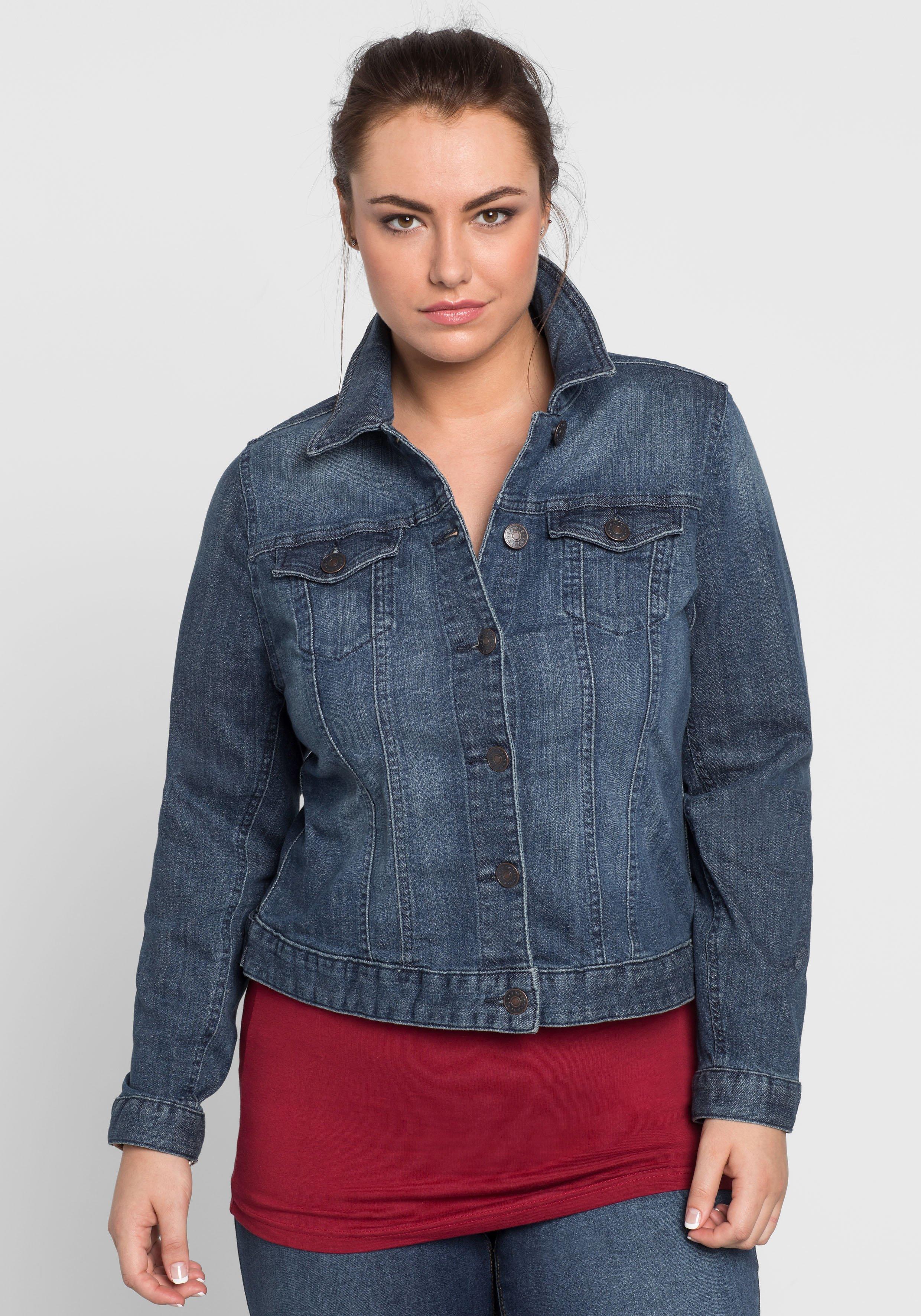Große Größen: Klassische Jeansjacke, dark blue Denim, Gr.40-58