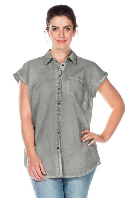 Bluse in Oil-washed-Optik mit kurzen Ärmeln - grau - 40/42