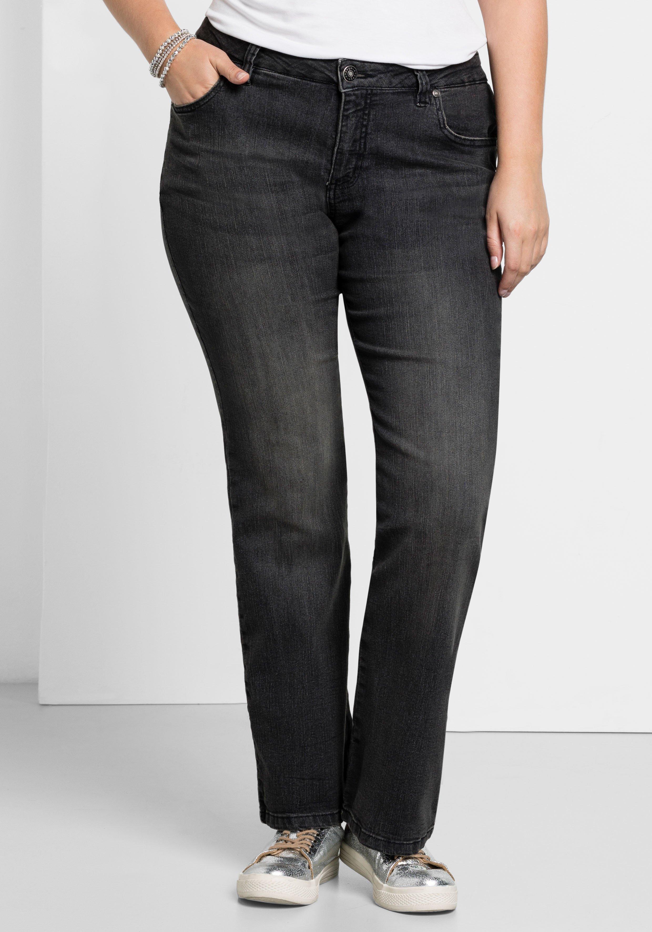Artikel klicken und genauer betrachten! - Stretch-Jeans MAILA von sheego im Used-Look. Mit ausgestelltem Bein und in Five-Pocket-Form. An der Gesäßtasche befindet sich eine dekorative Stickerei. | im Online Shop kaufen