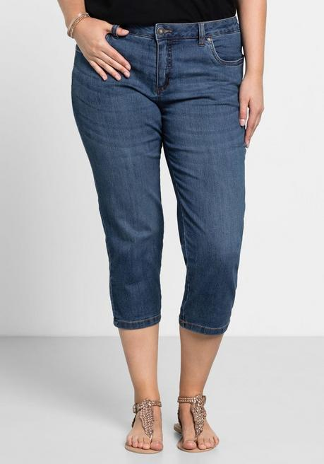 Capri-Stretch-Jeans mit individuellen Used-Effekten - blue Denim - 40