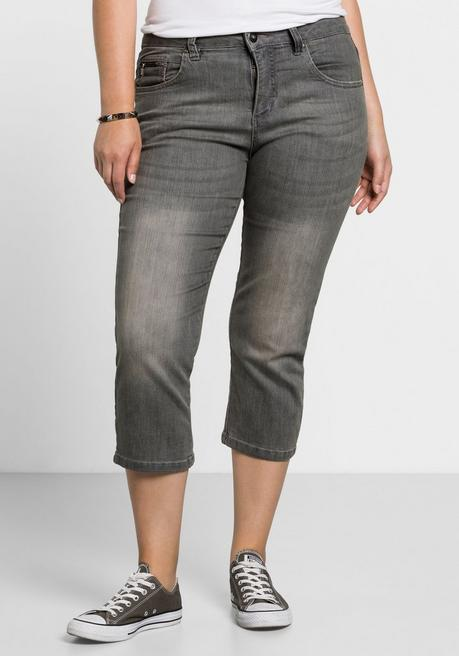 Capri-Stretch-Jeans mit individuellen Used-Effekten - grey Denim - 40