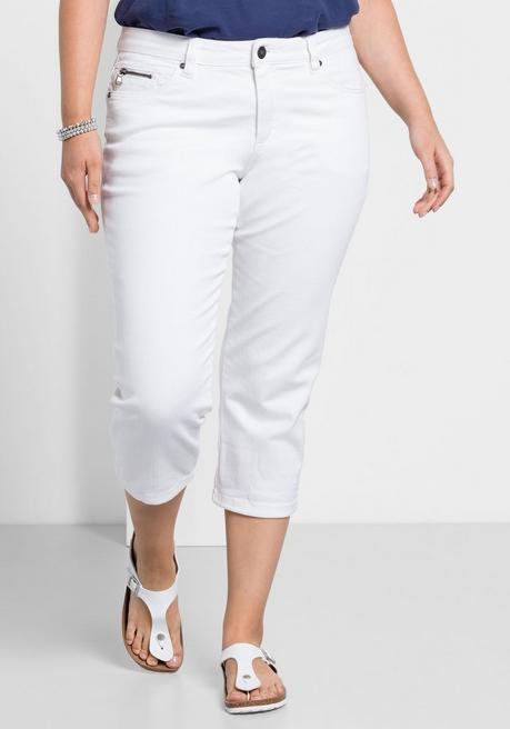 Capri-Stretch-Jeans mit individuellen Used-Effekten - white Denim - 40