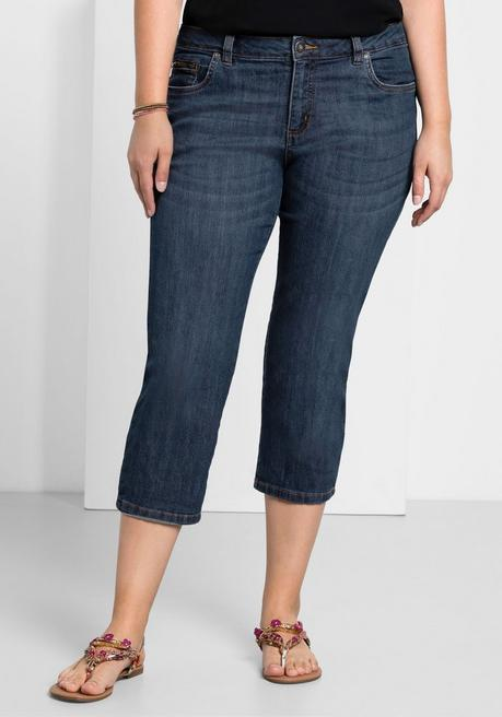 Capri-Stretch-Jeans mit individuellen Used-Effekten - dark blue Denim - 40