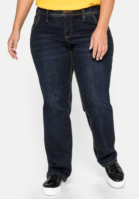 Gerade Stretch-Jeans LANA mit Used-Effekten - dark blue Denim - 40