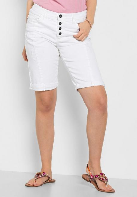 Bermuda Stretch-Jeans im Used-Look - white Denim - 40