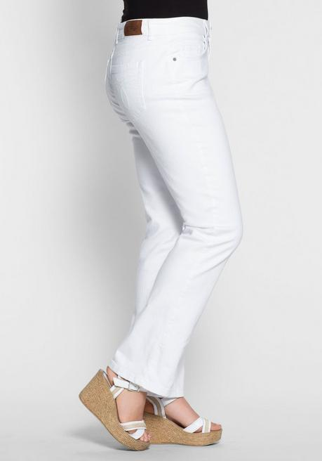 Gerade Stretch-Jeans LANA mit Used-Effekten - white Denim - 40