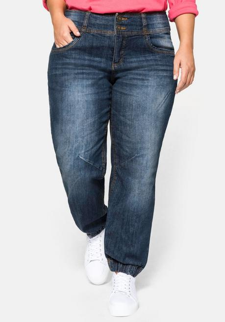 Pumpjeans mit Used-Effekten - dark blue Denim - 40