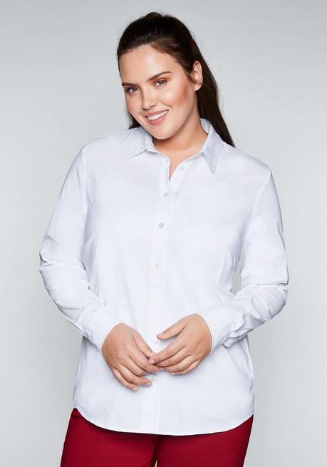 BASIC Stretch-Bluse in taillierter Form - weiß - 40