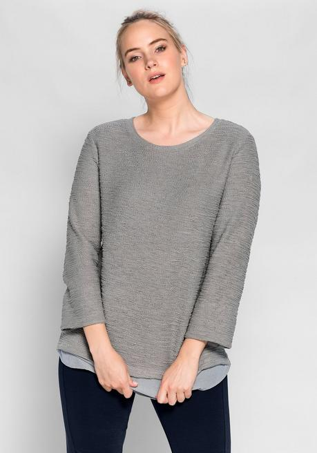 Sweatshirt in 2-in-1-Optik - steingrau - 40/42