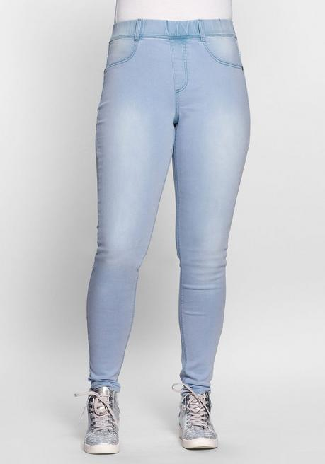 Skinny Power-Stretch-Jeggings mit Schlupfbund - light blue Denim - 40