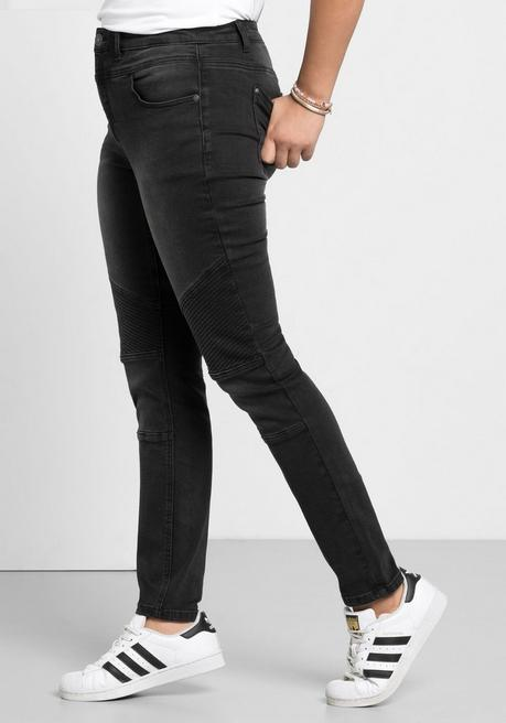 Skinny Power-Stretch-Jeans im Biker-Look - black Denim - 40