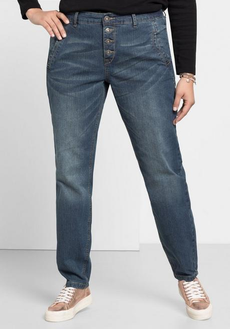 Boyfriend Stretch-Jeans mit Knopfleiste - blue Denim - 40