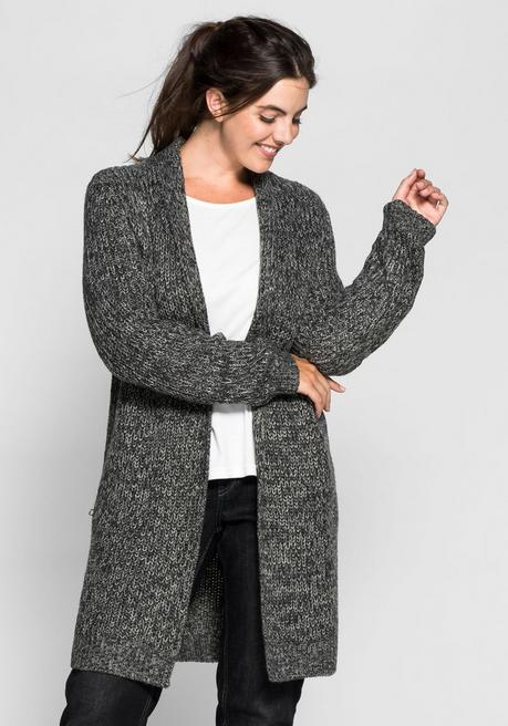 Cardigan in Grobstrick - anthrazit meliert - 40/42
