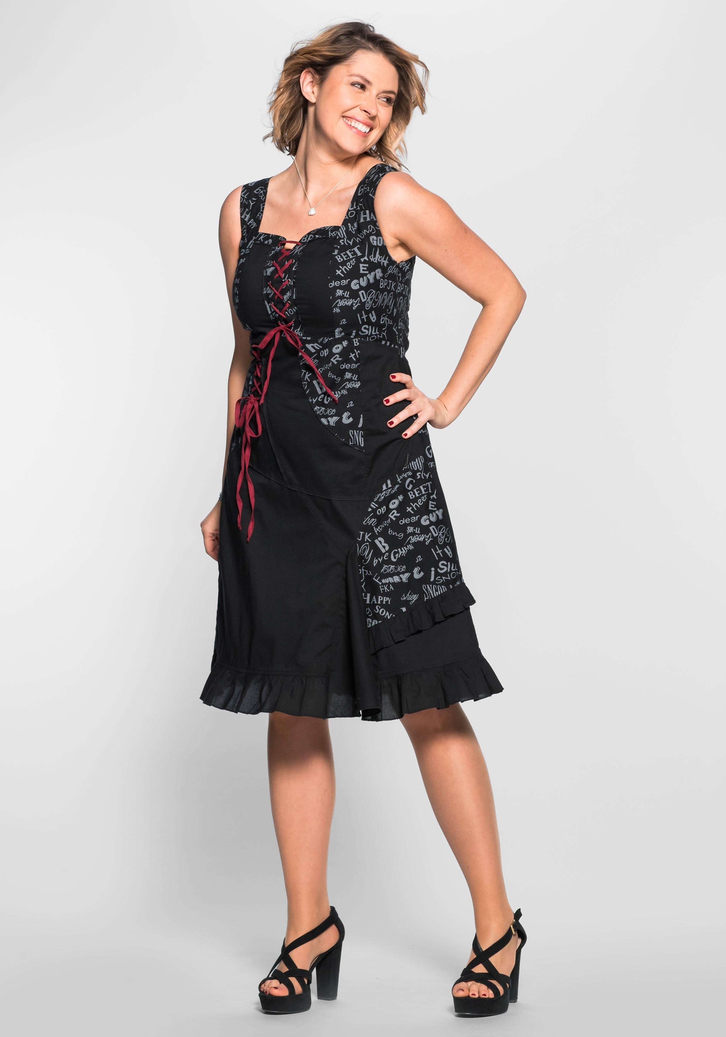 Große Größen: Kleid im extravaganten Design, schwarz, Gr.40-58