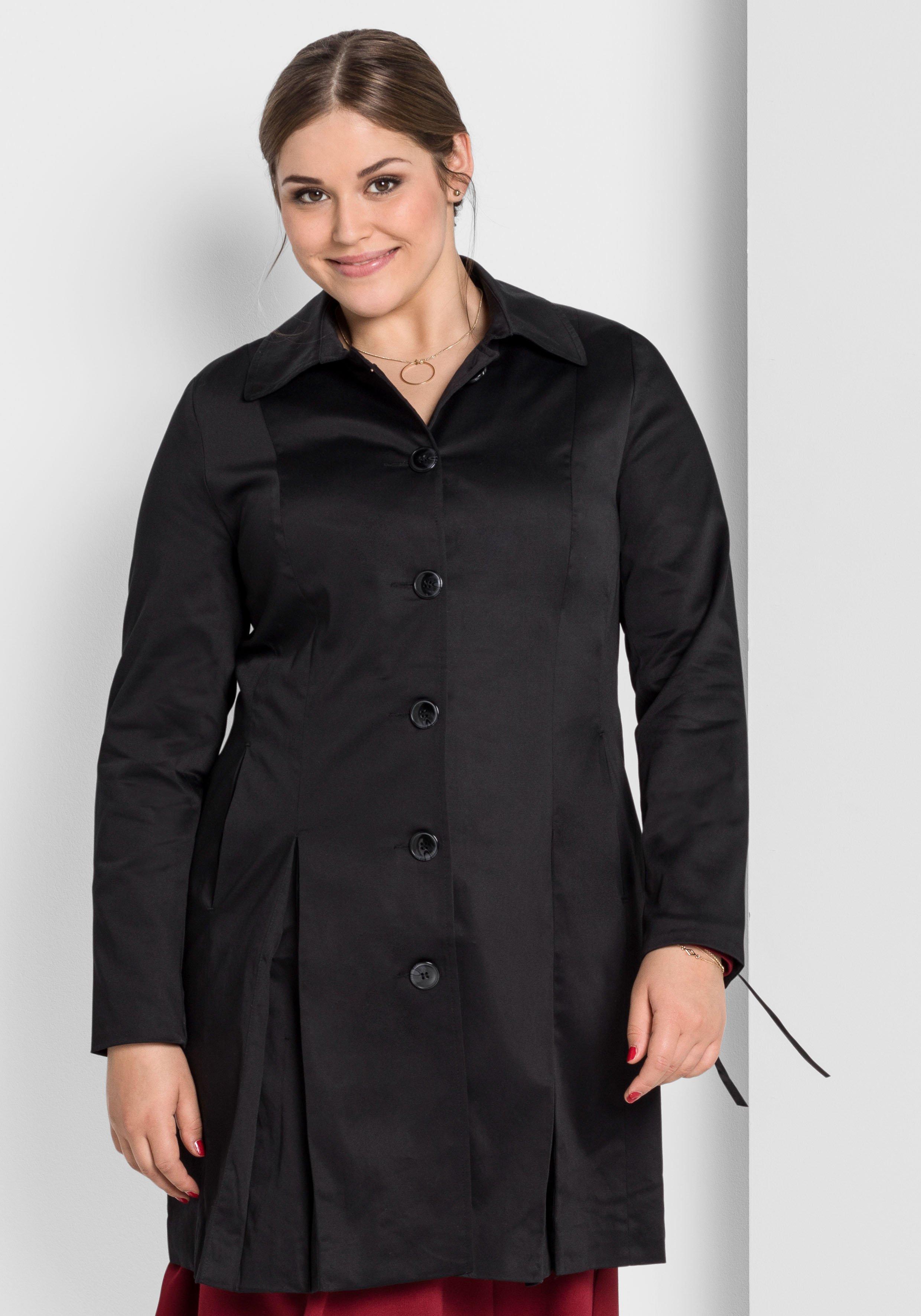 Große Größen: Mantel mit Schnürung am Ärmel, schwarz, Gr.40-58