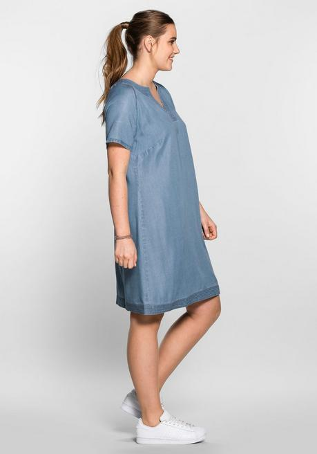 Lyocell-Kleid im sportiven Design - blue Denim - 40