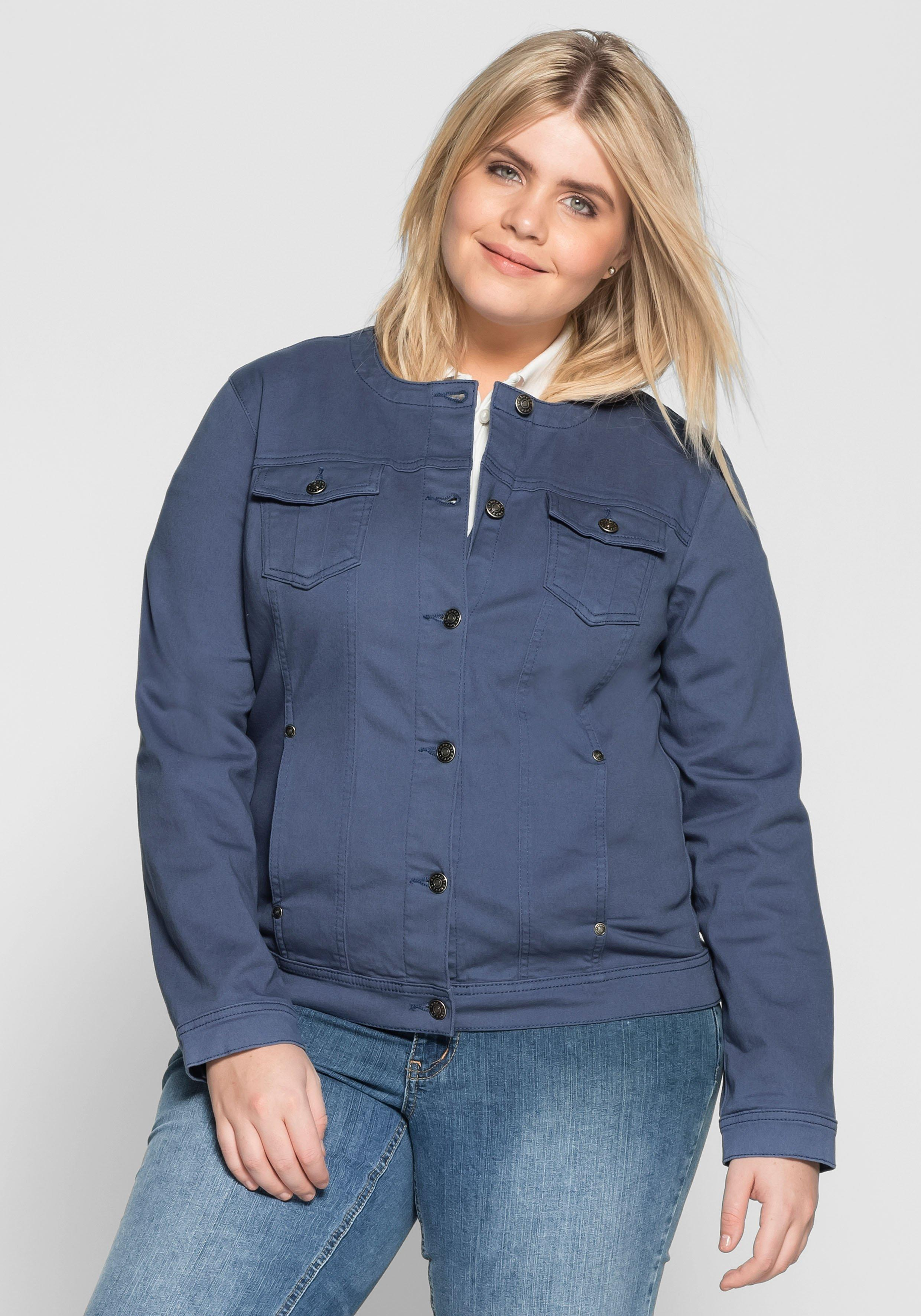 Große Größen: Jacke mit zwei Brusttaschen, rauchblau, Gr.40-58