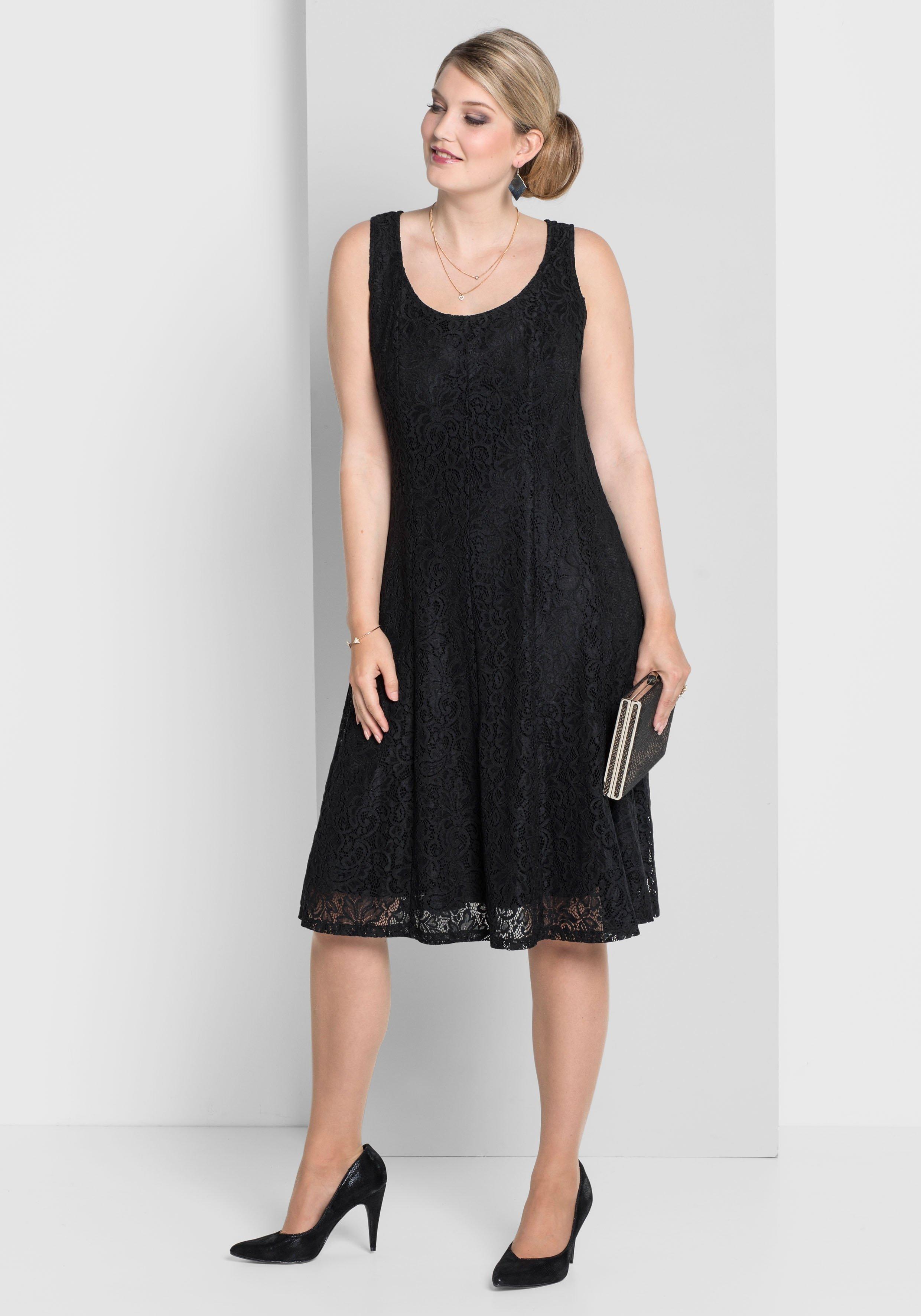 Große Größen: Kleid mit Spitze, schwarz, G...