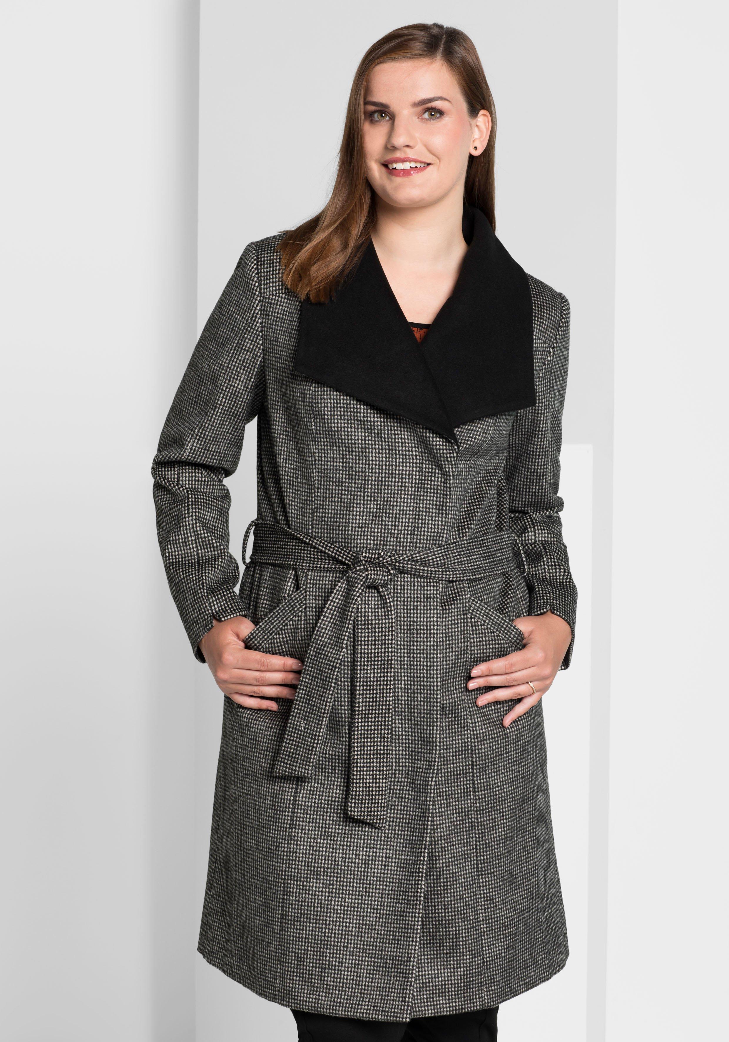 Große Größen: Mantel im Hahnentritt-Design, schwarz-offwhite, Gr.40-58