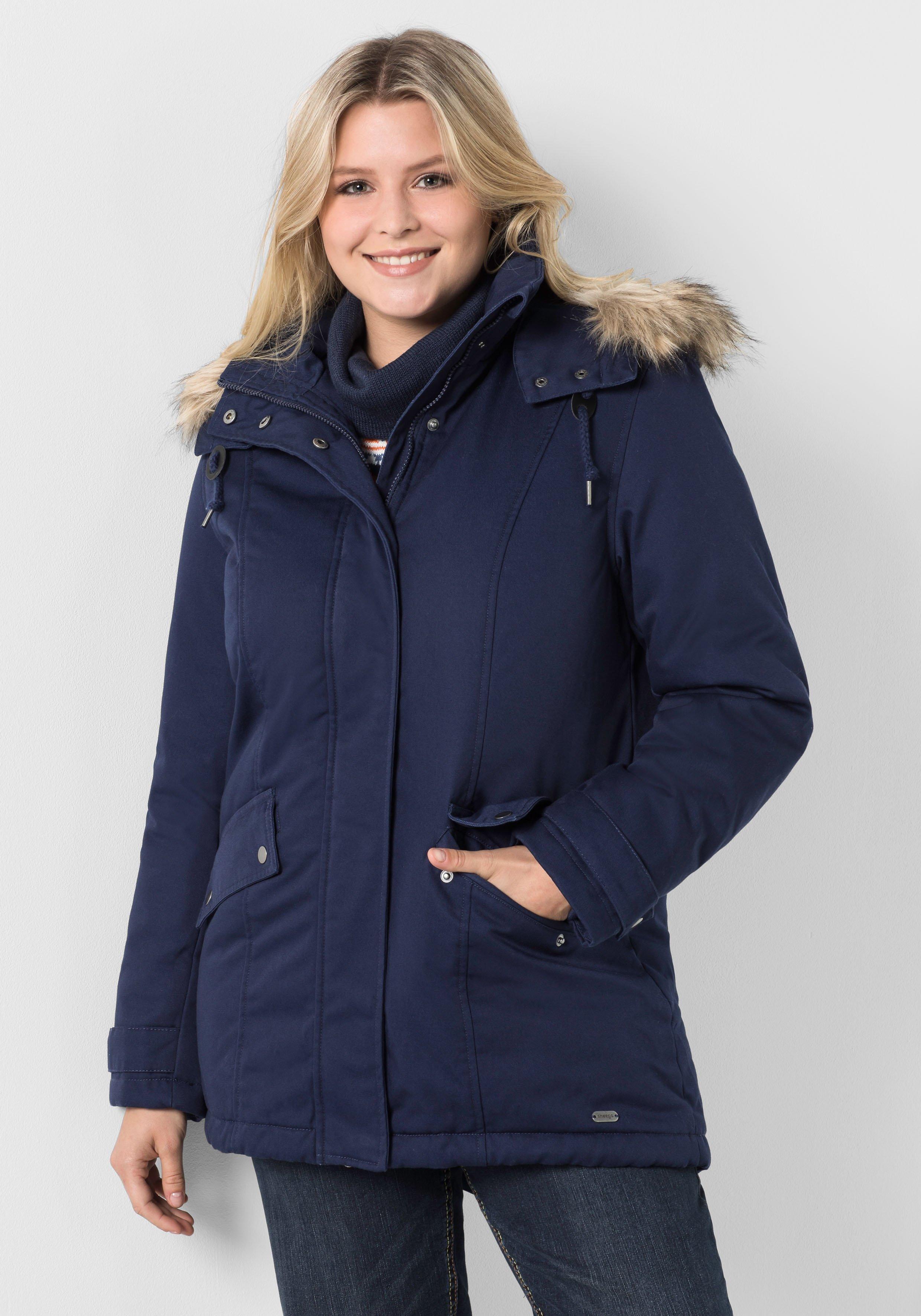 Große Größen: Mantel mit Kapuze, marine, Gr.40-58