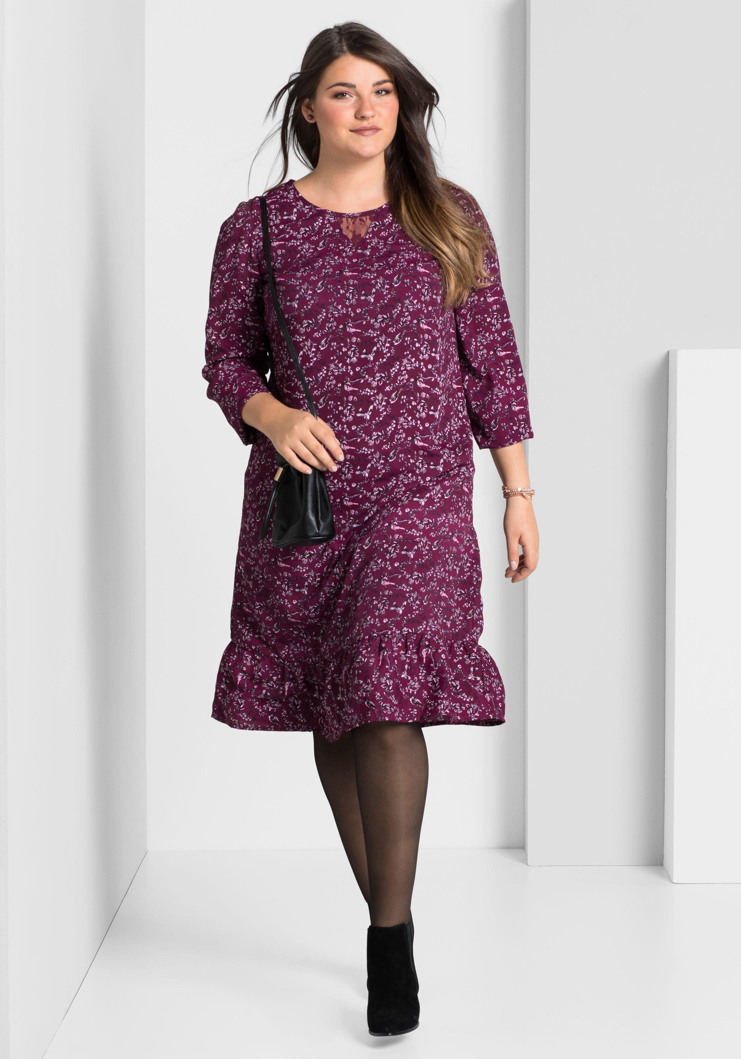 Große Größen: Kleid mit femininem Alloverprint, beere bedruckt, Gr.40-58