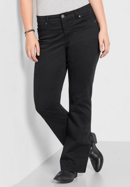 Bootcut-Stretch-Hose in 5-Pocket-Form - schwarz - 40